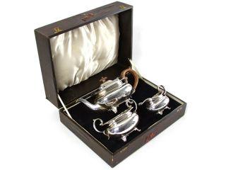 James Deakin Sterling Silver Boxed Tea Set Sheffield 1932