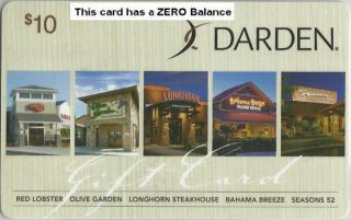 DARDEN Olive Garden Collectible ($10) Gift Card   NO $ VALUE   Buy 6