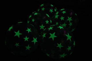 11 inch Glow in The Dark Stars Latex Balloons