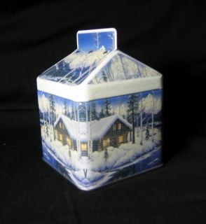vintage winter scene house shaped decorative tin description vintage