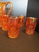 Imperial Daisy Marigold CARNIVAL GLASS DRINKING SET Pitcher 8 Glasses