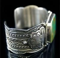 Navajo Darryl Becenti Sterling Silver Kings Manassa Turquoise Cuff