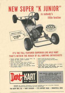 Vintage 1960 Dart Kart Super K Junior Go Kart Ad