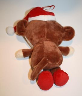 Dan Dee Plush Brown Monkey Red Christmas Stocking Cap Hat 8 DanDee