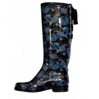NIB Dav Victoria Paisley Tall Rain Boots Lace Up Ribbon Back Size 8