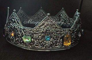 deep silver king queen crown jewel medieval gem metal costume