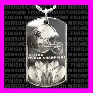 NFL Champs Dallas Cowboys Helmet Chrome Like Dog Tag