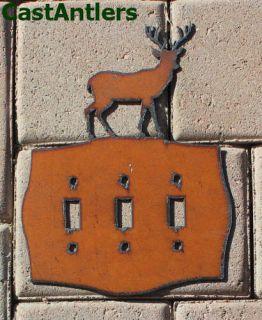 Deer Triple Light Switch Plate Cover Metal Western Rustic Lodge Cabin