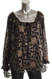 Dallin Chase New Black Sequined Tie Neck Long Sleeve Blouse Top Shirt