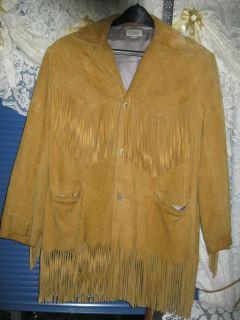 PETERMAN EXCLUSIVE CLOTHING FRINGE SUEDE DEER LEATHER COAT JACKET