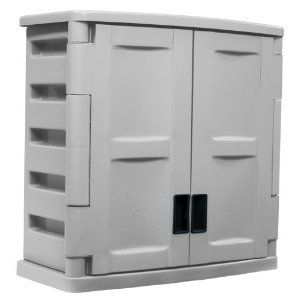 Suncast Utility 2 Door Wall Cabinet Pool Patio Deck Porch Storage Box