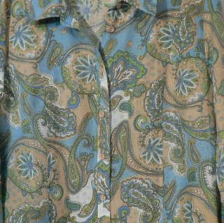 DAVID BROOKS Blue White Tan Green Linen Paisley Blouse Top XL