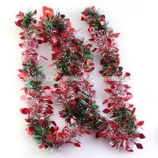 Red Leaf Silver Green Ribbon Xmas Tree Ornaments Decoration Festival