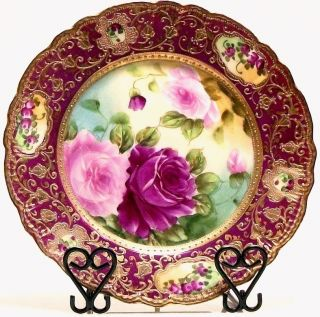 Hand Painted IE C Japan Roses Gold Beaded Nippon Era Decorative Plate