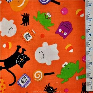 Half Yard Halloween Riley Blake Trick Treat Ghost Owl Black Quilt