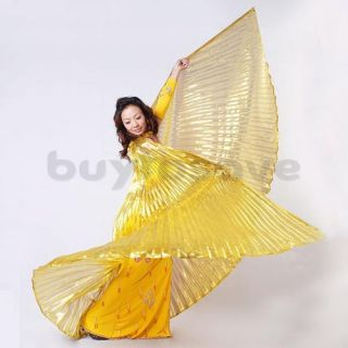 Egyptian Belly Dance Dancing Costume Gold Isis Wing + 2 Sticks