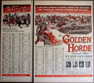 Movie Promo Ad The Golden Horde w Ann Blyth David Farrar