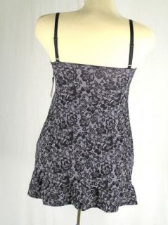 Delta Burke Lingerie Slip Nightgown Black & White Lace