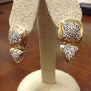 David Yurman18K Yellow Gold Diamond Earrings
