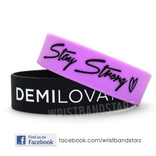 Stay Strong Demi Lovato Wristband Bracelet Heart Wide Band