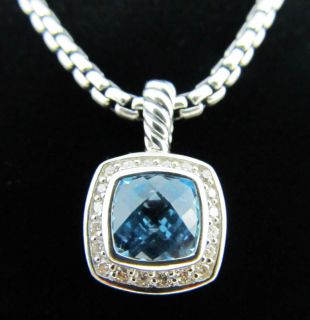 David Yurman 7mm Blue Topaz Diamond Petite Albion Pendant Necklace