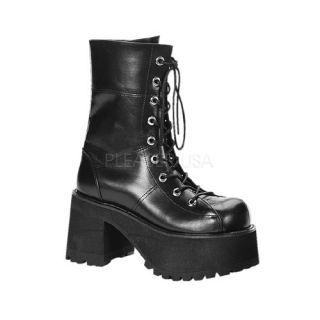 Demonia Ranger Calf Boots Punk Goth Patent Leather Commando Sole Heel