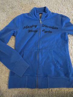 Womens Small Harley Davison Blue Zipper Front Sweatshirt