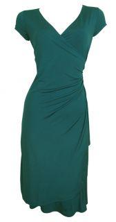 Stretch Faux Wrap Day Dress Sally Orange Forest Green Size 8 10 12