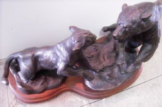 Dennis Anderson Mountain Lion Fighting Grizzly Bear Large Bronze