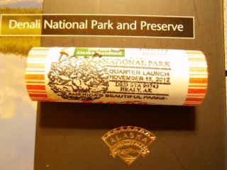 2012 DENALI NATIONAL PARK P MINT QUARTER ROLL STAMPED CANCELED VERY