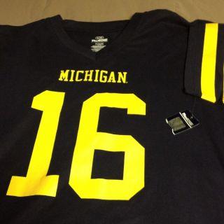 Denard Robinson Michigan Wolverines Blue Jersey T Shirt Size XL