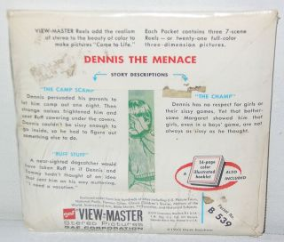 SEALED 1967 DENNIS THE MENACE View Master Reel Set Comic Book Cartoon