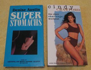 LOT Denise Austin Super Stomach Cindy Crawford VHS Exercise VIDEOTAPE