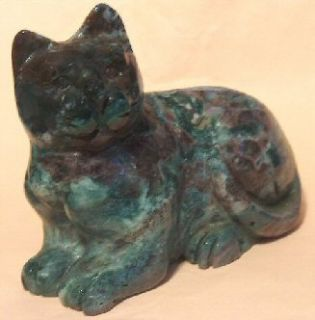 Very Large Stone Carved Green Ocean Jasper Cat Statue