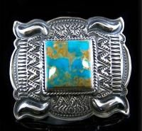 Native Navajo Darryl Becenti Sterling Silver Manassa Turquoise Mens