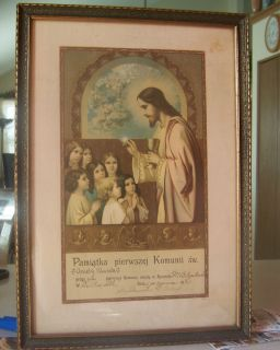 Antique 1921 Catholic Holy Communion Certificate 17x12 DePue IL Framed