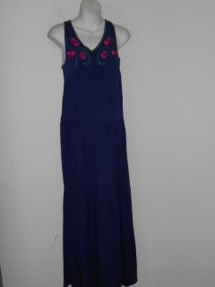 Design History Embroidered Blue Tier Maxi Dress $189 S