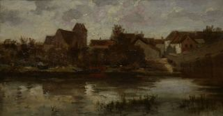 Original Antique Oil Painting 19thC French Impressionist River