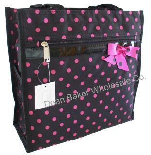 Polka Dot Shopping Tote Bag Canvas Handbag Black Pink