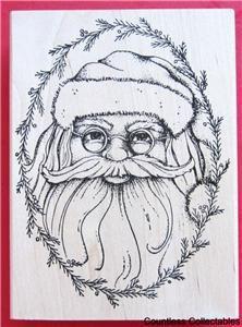 Santa Claus Fir Framed Evergreen Garland Christmas Rubber Stamp