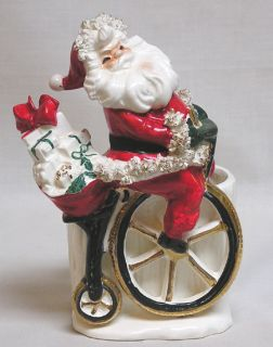 Fabulous Lefton Christmas Santa Claus on Hi Wheel Bicycle Planter 1400