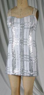 By Debra 102SQN276 Pre Teen and Girls White Silver Sequin Slip Dress
