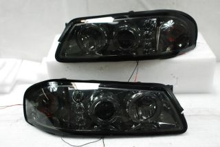 Smoked 00 05 Chevy Impala Dual Halo Projector LED Headlights Lamps