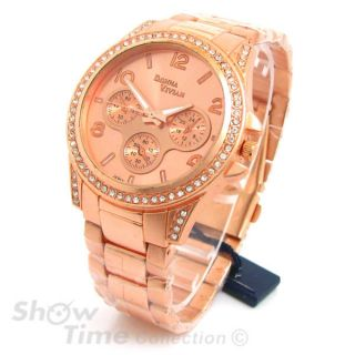 Rose Gold 3D Designer Style Crystal Bezel Womens Watch