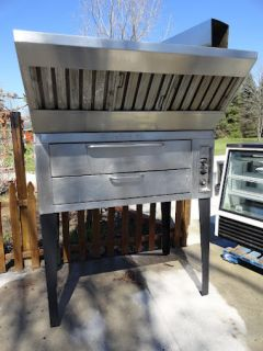 Chef Single Deck Pizza Oven Natural Gas with Stones and Hood Stainless