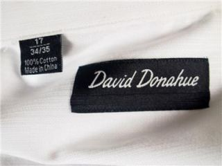 David Donahue French Cuff White Dress Shirt 100 Cotton Size 17 34 35