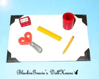 Barbie School Girl Office Desk Accessories Set Scissors Pencil Cup