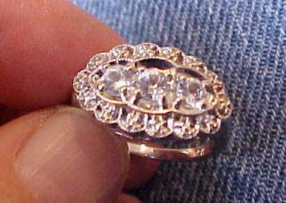 14k Deco White Gold Vintage Ring w White Sapphires Size 7 5 3 Grams