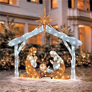Outdoor Holiday Christmas Lighted Nativity Scene Yard Art Display