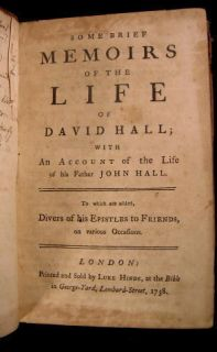 Memoirs of The Life of David Hall 1758 Antique Leather London Quaker
